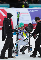 17.02.2013, Planai, Schladming, AUT, FIS Weltmeisterschaften Ski Alpin, Slalom, Herren, 2. Durchgang, im Bild Felix Neureuther (GER, 2. Platz) // 2nd place Felix Neureuther of Germany reacts after 2nd run of the mensSlalom at the FIS Ski World Championships 2013 at the Planai Course, Schladming, Austria on 2013/02/17. EXPA Pictures © 2013, PhotoCredit: EXPA/ Johann Groder