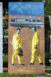 © Licensed to London News Pictures.  30/07/2017; Bristol, UK. Upfest 2017. Image of Breaking Bad by artists at Upfest, Europe's largest street art festival held annually in Bedminster, Bristol. The festival officially runs from 29 - 31 July with over 350 artists live painting in 37 locations. Picture credit : Simon Chapman/LNP