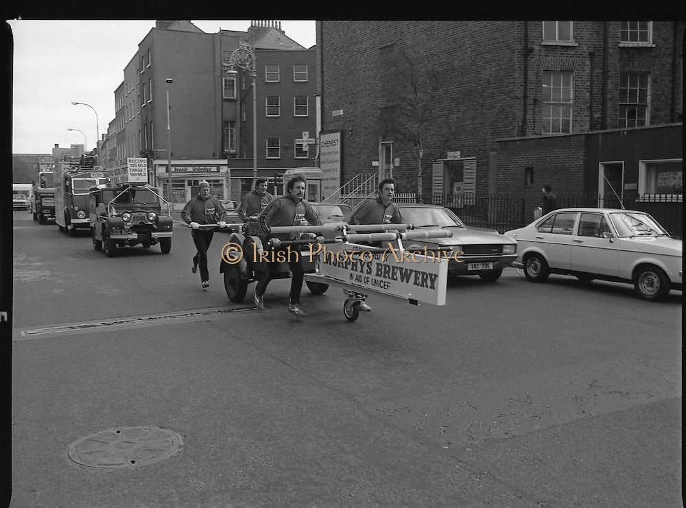 29/03/1978<br /> 03/29/1978<br /> 29th March 1978<br /> <br /> Picture shows four firemen who are pushing the fire fighting water pump to Cork to raise money for UNICEF.