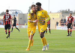 Ellis Harrison of Bristol Rovers celebrates his goal with Matty Taylor - Mandatory byline: Neil Brookman/JMP - 07966 386802 - 03/10/2015 - FOOTBALL - Globe Arena - Morecambe, England - Morecambe FC v Bristol Rovers - Sky Bet League Two