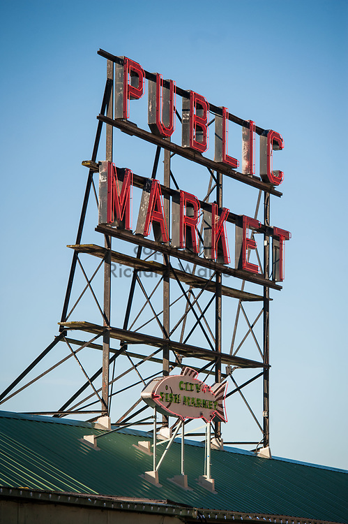 2017 DECEMBER 05 - Public Market neon sign at Pike Place Market, Seattle, WA, USA. By Richard Walker