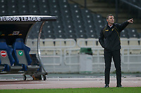 ATHENS, GREECE - OCTOBER 29: Massimo Carrera, coach of AEK Athens during the UEFA Europa League Group G stage match between AEK Athens and Leicester City at Athens Olympic Stadium on October 29, 2020 in Athens, Greece. (Photo by MB Media)