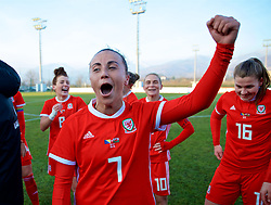 ZENICA, BOSNIA AND HERZEGOVINA - Tuesday, November 28, 2017: Wales' Natasha Harding celebrates the 1-0 victory over Bosnia and Herzegovina during the FIFA Women's World Cup 2019 Qualifying Round Group 1 match between Bosnia and Herzegovina and Wales at the FF BH Football Training Centre. (Pic by David Rawcliffe/Propaganda)
