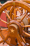 "Ships wheel, USS Constitution (""Old Ironsides"") on the Freedom Trail, Charlestown Navy Yard, Boston, Massachusetts"