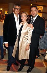 """Left to right, JAY JOPLING, his wife SAM TAYLOR-WOOD and DAVID WALLIAMS at a party hosted by Christopher Bailey to celebrate the launch of """"The Snippy World of New Yorker Fashion Artist Michael Roberts"""" held at Burberry, 21-23 New Bond Street, London on 20th September 2005.<br /><br />NON EXCLUSIVE - WORLD RIGHTS"""
