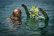 US Navy Mark-V commercial diver attacked by the monster at Dutch Springs, Scuba Diving Resort in Bethlehem, Pennsylvania