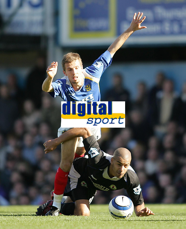 Photo: Lee Earle.<br /> Portsmouth v Blackburn Rovers. The Barclays Premiership. 08/04/2006. Pompey's Gary O'Neil (L) clashes with Steven Reid.