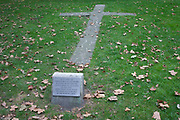 The location of a burning cross, felled during the Blitz in WW2, on 21st September 2016, in Waterloo, SE1, south London borough of Southwark, England UK. This is the spot where the burning cross fell from the roof of the church is marked out with stones in the churchyard on the night of 17 April 1941. No-one was killed at Christ Church but 17 people involved in civil defence lost their lives in Southwark that night.