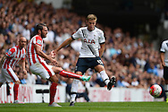 Erik Pieters of Stoke City passing the ball past Eric Dier of Tottenham Hotspur. Barclays Premier league match, Tottenham Hotspur v Stoke city at White Hart Lane in London on Saturday 15th August 2015.<br /> pic by John Patrick Fletcher, Andrew Orchard sports photography.