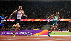 Turkey's Ramil Guliyev (second left) wins gold in the Men's 200m Final as South Africa's Wayde Van Niekerk (right) wins silver during day seven of the 2017 IAAF World Championships at the London Stadium.