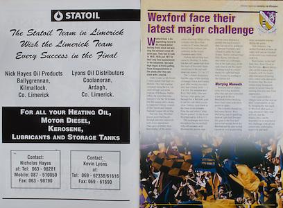 All Ireland Senior Hurling Championship - Final,.01.09.1996, 09.01.1996, 1st September 1996,.01091996AISHCF, .Wexford v Limerick,.Wexford 1-13, Limerick 0-14,.Statoil,