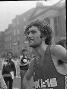 Finish of Dublin City Marathon .25/10/1982  Radio 2, Dublin City Marathon..1982.25.10.1982.10.25.1982.25th October 1982..The Radio 2 sponsored Dublin City Marathon finish at St Stephens Green Dublin..The overall winners were:Men, Gerry Kiernan,Listowel, Kerry. Women, Debbie Mueller,U.S.A. and the first wheelchair competitor Michael O'Rourke..Gerry kiernan takes a well earned rest.