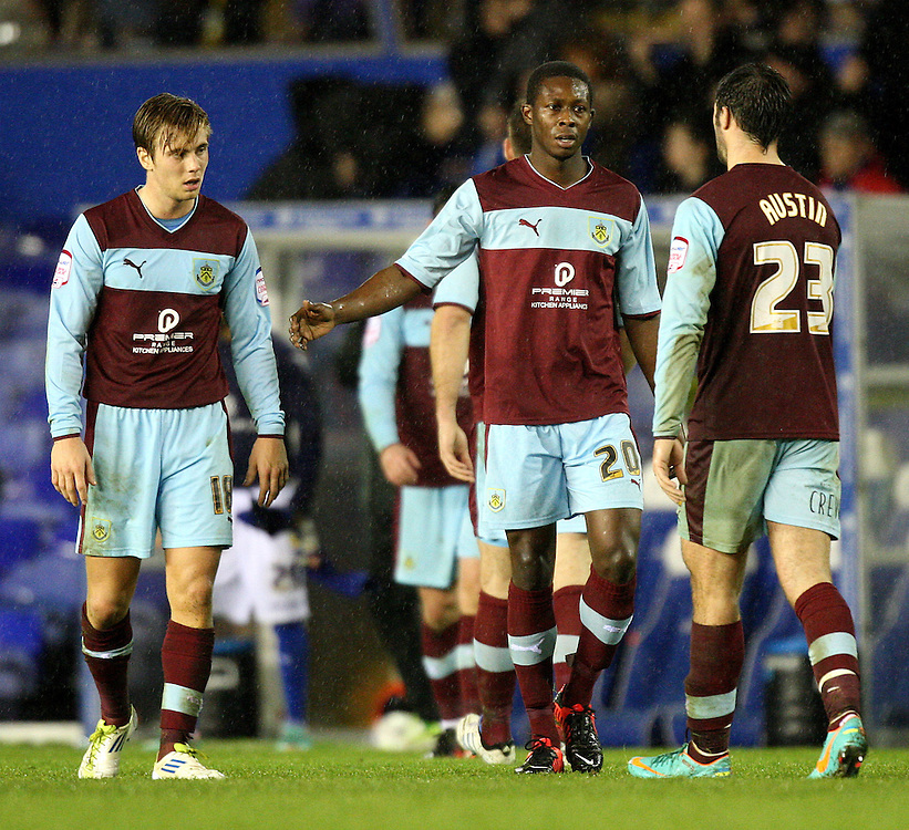 Burnley's players look disappointed at the final whistle..Football - npower Football League Championship - Birmingham City v Burnley - Saturday 22nd December 2012 - St Andrews - Birmingham..