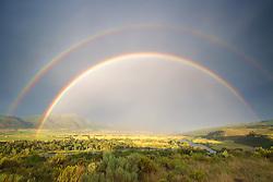 Double Rainbow, thunderstorm, Snake River, Swan Valley, Idaho