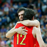 08 August 2012: Spain Sergio Llull is congratulated by Fernando San Emeterio during 66-59 Team Spain victory over Team France, during the men's basketball quarter-finals, at the 02 Arena, in London, Great Britain.