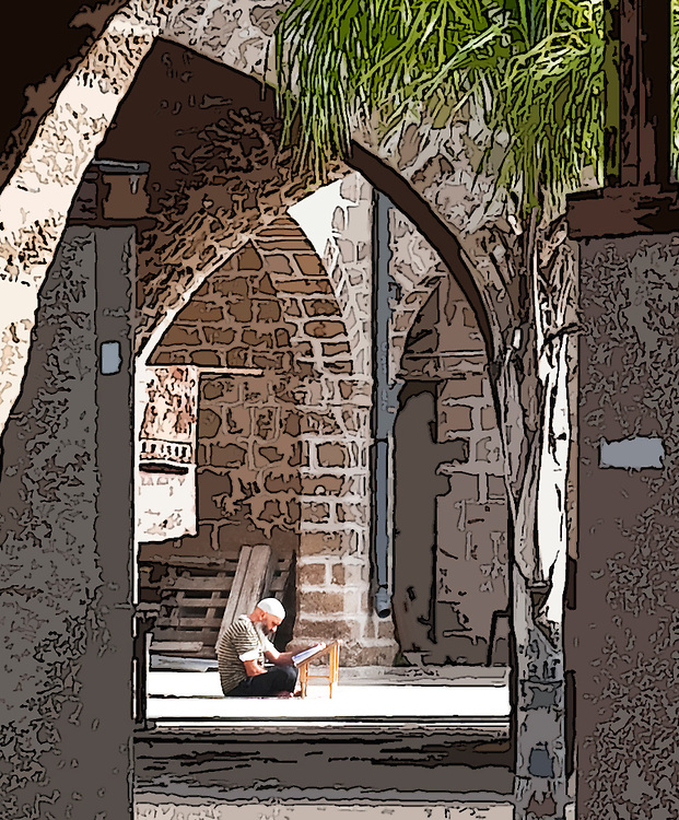 Old stone building arches in Jaffa Yafo Israel