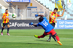 May 12, 2017 - Rades, Tunisia - Saad Beguir of  (EST)and the goalkeeper Bongaman Lukong of Vita club ..First day of the group stage of the Champions League  2017 Total  between Esperance Sportive de Tunis (EST) and the formation of AS Vita Club (RD Congo) at the Rades stadium..The Esperance Sportive de Tunis (EST) won by 3/1. (Credit Image: © Chokri Mahjoub via ZUMA Wire)