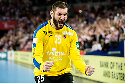 Mirko Alilovic of Croatia reacts during handball match between National teams of Croatia and France on Day 7 in Main Round of Men's EHF EURO 2018, on January 24, 2018 in Arena Zagreb, Zagreb, Croatia.  Photo by Vid Ponikvar / Sportida