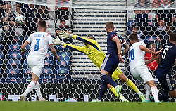 Czech Republic's Patrik Schick scores the opening goal during the UEFA Euro 2020 Group D match at Hampden Park, Glasgow. Picture date: Monday June 14, 2021.