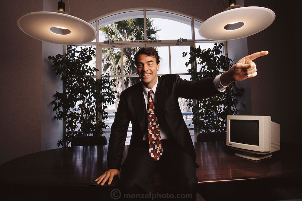 Silicon Valley, California; Timothy C. Draper 3rd generation venture capitalist in office, Redwood City. Model Released.