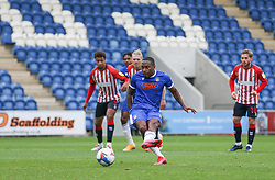 Callum Harriott of Colchester United scores a goal to make it 2-0 - Mandatory by-line: Arron Gent/JMP - 03/10/2020 - FOOTBALL - JobServe Community Stadium - Colchester, England - Colchester United v Oldham Athletic - Sky Bet League Two