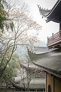 Roof and the architectural detail of the exterior of the Lingyin Buddhist temple, Hangzhou, Zhejiang Province, China