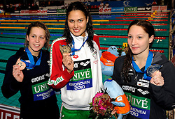 28-11-2010 ZWEMMEN: EUROPEAN SHORT COURSE CHAMPIONSHIPS: EINDHOVEN .Anja Klinar SLO win the silver medal 400m individuel medley, gold for Zsuzsanna Jakabos and bronze for Lara Grangeon FRA /  Photo by Ronald Hoogendoorn / SPORTIDA PHOTO AGENCY