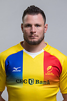 CLUJ-NAPOCA, ROMANIA, FEBRUARY 27: Romania's national rugby player Johan Van Heerden pose for a headshot, on February 27, 2018 in Cluj-Napoca, Romania. (Photo by Mircea Rosca/Getty Images)