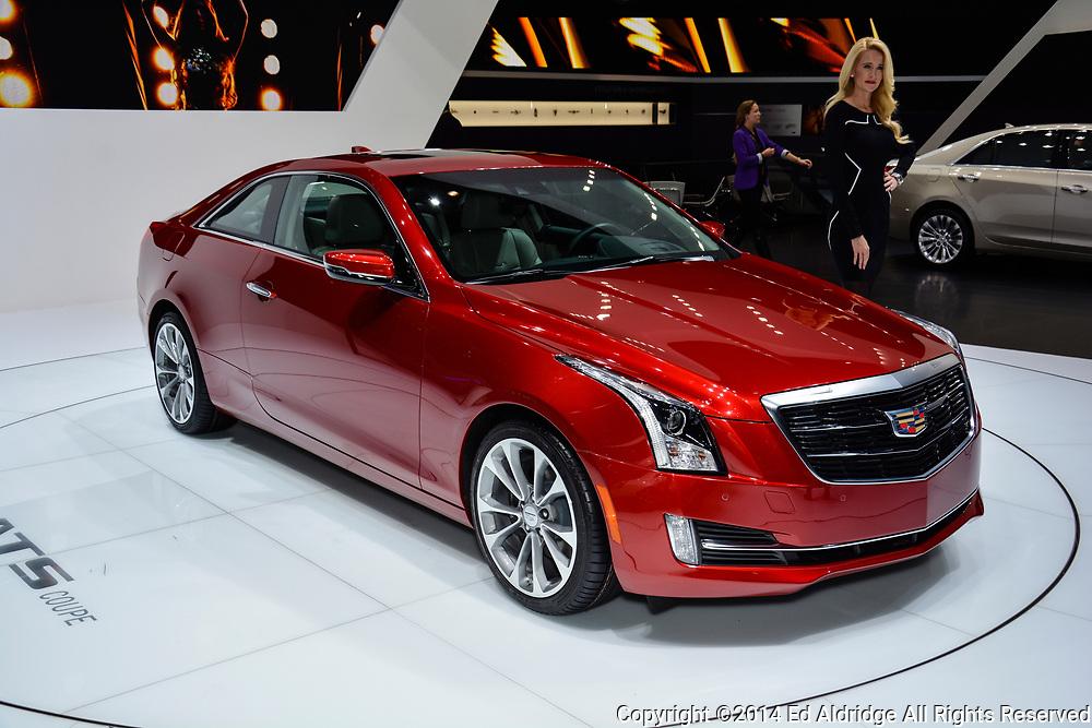 GENEVA, SWITZERLAND - MARCH 4, 2014: Cadillac ATS Coupe on display during the Geneva Motor Show.