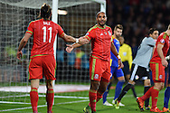 Gareth Bale of Wales with Ashley Williams of Wales ©. Wales v Andorra, Euro 2016 qualifying match at the Cardiff city stadium  in Cardiff, South Wales  on Tuesday 13th October 2015. <br /> pic by  Andrew Orchard