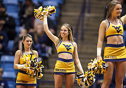 Nov 28, 2018; Morgantown, WV, USA; A West Virginia Mountaineers cheerleader performs during the first half against the Rider Broncs at WVU Coliseum. Mandatory Credit: Ben Queen-USA TODAY Sports