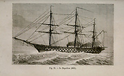 19th century Woodcut print on paper of le Napoleon was a 90-gun ship of the line of the French Navy, and the first purpose-built steam battleship in the world from L'art Naval by Leon Renard, Published in 1881