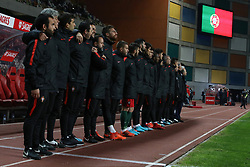 November 14, 2017 - Leiria, Leiria, Portugal - Portugals players during the national anthem before the start of the match between Portugal and United States of America International Friendly at Estadio Municipal de Leiria, on November 14, 2017 in Leiria, Portugal. (Credit Image: © Dpi/NurPhoto via ZUMA Press)