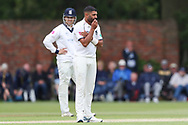 Jeetan Patel of Warwickshire looks on after an appeal for LBW was turned down during the Specsavers County Champ Div 1 match between Yorkshire County Cricket Club and Warwickshire County Cricket Club at York Cricket Club, York, United Kingdom on 17 June 2019.