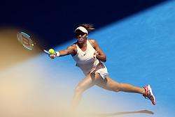 January 22, 2018 - Melbourne, Australia - MADISON KEYS of USA returns a shot during the women's singles fourth round match against Caroline Garcia of France at the Australian Open. Madison Keys won 2-0. (Credit Image: © Li Peng/Xinhua via ZUMA Wire)