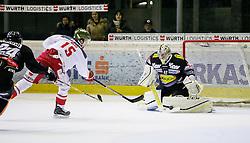 03.01.2017, Messestadion, Dornbirn, AUT, EBEL, Dornbirner Eishockey Club vs HCB Südtirol Alperia, 39. Runde, im Bild v. l. Mike Caruso, (Dornbirner Eishockey Club, #24), Brodie Reid, (HCB Suedtirol Alperia, #15) und Florian Hardy, (Dornbirner Eishockey Club, #49) // during the Erste Bank Icehockey League 39th round match between Dornbirner Eishockey Club and HCB Südtirol Alperia at the Messestadion in Dornbirn, Austria on 2017/01/03, EXPA Pictures © 2017, PhotoCredit: EXPA/ Peter Rinderer
