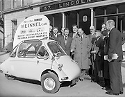 "25/02/1957<br /> 02/25/1957<br /> 25 February 1957<br /> Heinkel ""Bubble"" car at Lincoln and Nolan Ltd. 57 Baggot Street, Dublin."