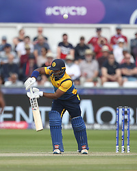 July 1, 2019 - Chester Le Street, County Durham, United Kingdom - Sri Lanka's Kusal Perera edges a ball in the air during the ICC Cricket World Cup 2019 match between Sri Lanka and West Indies at Emirates Riverside, Chester le Street on Monday 1st July 2019. (Credit Image: © Mi News/NurPhoto via ZUMA Press)