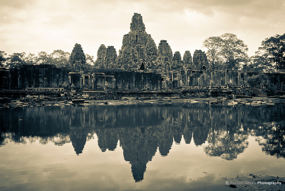 Wide Shot of The Bayon temple in the walled city of Angkor Thom, Siem Reap, Cambodia
