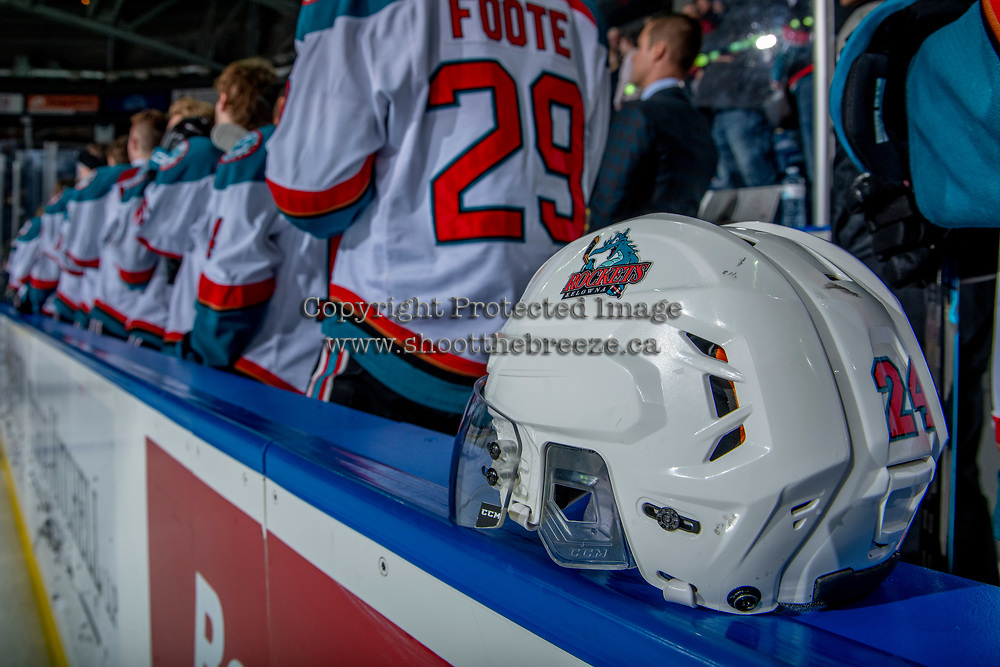 KELOWNA, CANADA - JANUARY 30:  The Kelowna Rockets' stand on the bench during the national anthem against the Seattle Thunderbirds on January 30, 2019 at Prospera Place in Kelowna, British Columbia, Canada.  (Photo by Marissa Baecker/Shoot the Breeze)