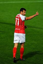 Matty Blair of Cheltenham Town gestures- Mandatory by-line: Nizaam Jones/JMP - 20/10/2020 - FOOTBALL - Jonny-Rocks Stadium - Cheltenham, England - Cheltenham Town v Scunthorpe United - Sky Bet League Two