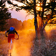 Andrew Whiteford kicks up huge dust in very dry riding conditions in the Tetons of Wyoming.