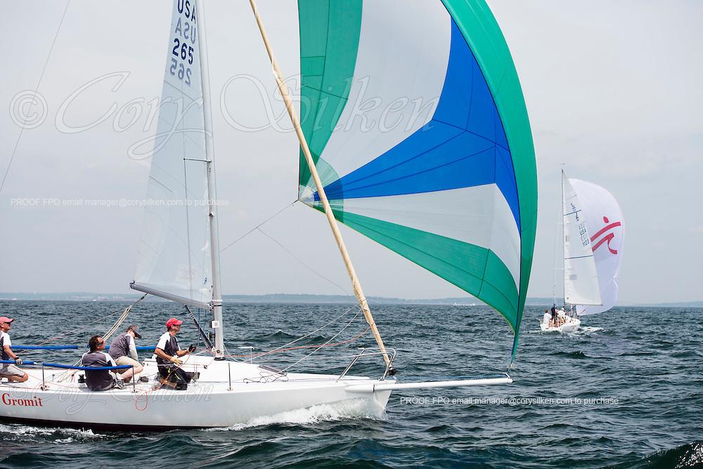 J80 265 Gromit sailing at the Newport Regatta featuring Bacardi Newport Sailing Week.