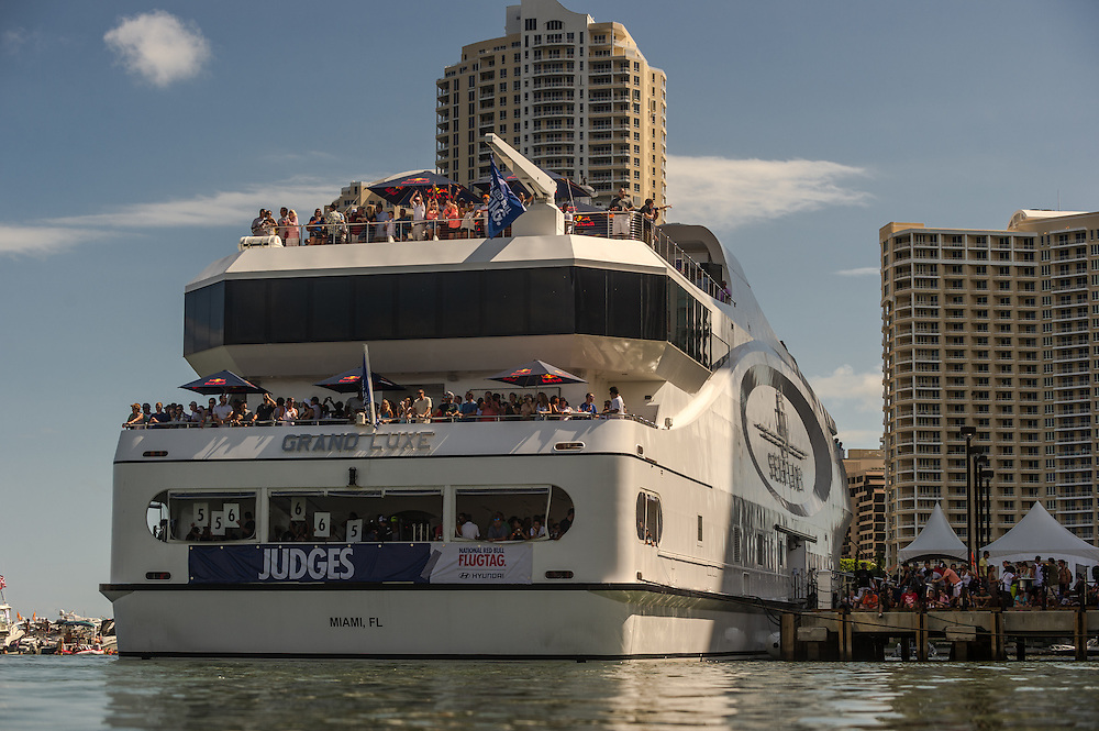 Judges seen the Red Bull Flugtag in Miami, FL, USA, on 21 September 2013.