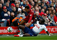 Football - 2018 / 2019 Premier League - Liverpool vs. Tottenham Hotspur<br /> <br /> Moussa Sissoko of Tottenham Hotspur brings down Trent Alexander-Arnold of Liverpool, at Anfield.<br /> <br /> COLORSPORT/ALAN MARTIN