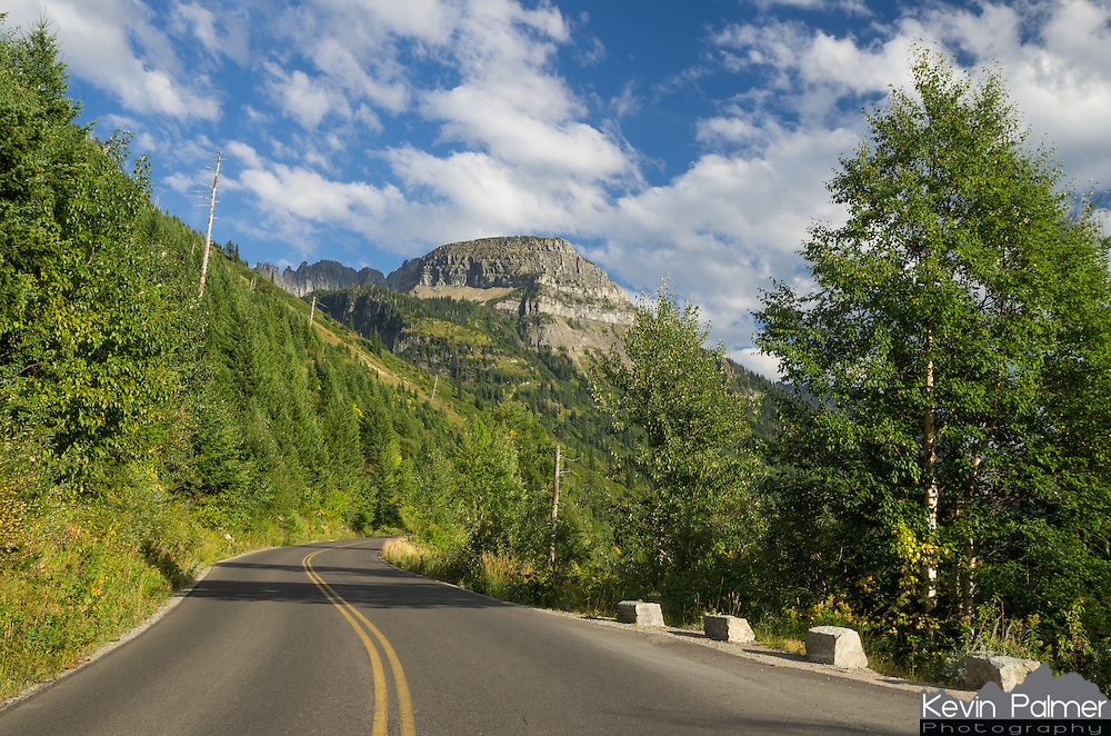 Going to the Sun Road in Glacier National Park curves around the mountainside.