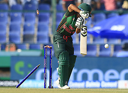 September 26, 2018 - Abu Dhabi, United Arab Emirates - Bangladesh cricketer Mominul Haque is bowled out .. during the Asia Cup 2018 cricket match between Bangladesh and Pakistan at the Sheikh Zayed Stadium,Abu Dhabi, United Arab Emirates on September 26, 2018  (Credit Image: © Tharaka Basnayaka/NurPhoto/ZUMA Press)