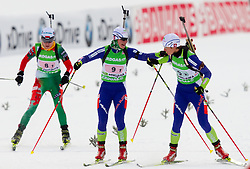 Andreja Mali and Teja Gregorin of Slovenia during the Mixed 2x6 + 2x7,5km relay of the e.on IBU Biathlon World Cup on Saturday, December 19, 2010 in Pokljuka, Slovenia. The fourth e.on IBU World Cup stage is taking place in Rudno polje - Pokljuka, Slovenia until Sunday December 19, 2010. (Photo By Vid Ponikvar / Sportida.com)