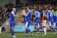 Photo: Tony Oudot/Richard Lane Photography. Northampton Town v Leicester City. Coca-Cola Football League One. 31/01/2008. <br /> GOAL! Steve Howard of Leicester is congratulated on his penalty by Matty Fryatt