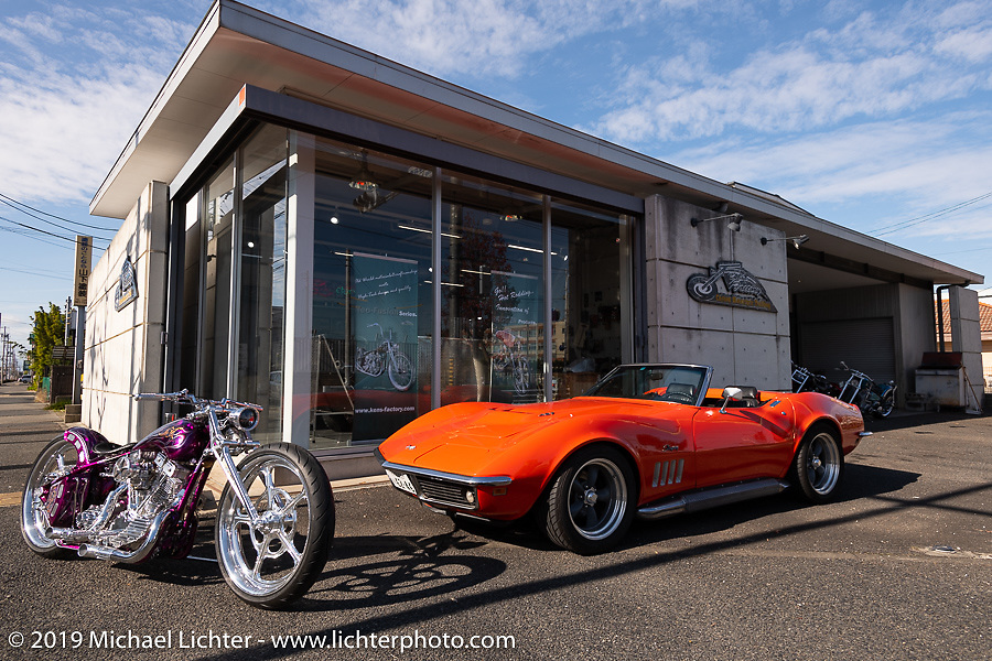 Ken Kenji Nagai's Ken's Factory Corvette (formerly owned by Charlie Sheen) at his shop, Japan. Wednesday, December 5, 2018. Photography ©2018 Michael Lichter.